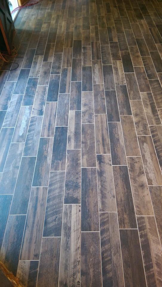 Plank porcelain tile flooring